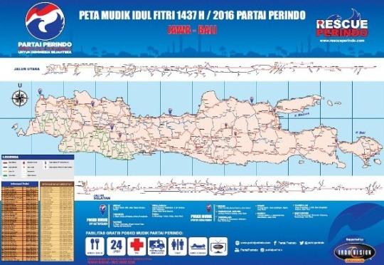 Peta Mudik Idul Fitri 1437 H / 2016 Partai Perindo